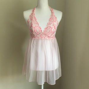 VICTORIA'S SECRET Sexy Pink Lace Halter Babydoll